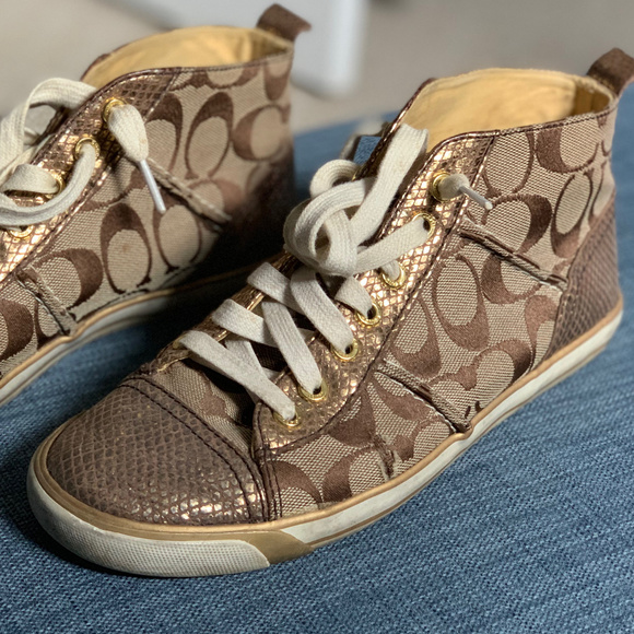 f9d5336dd8 Coach women's Gold high top sneakers